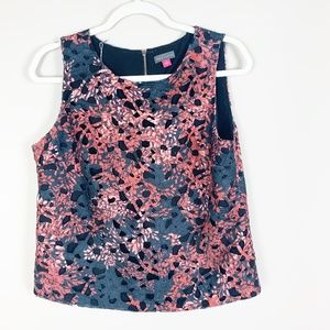 Vince Camuto Red Black Floral Sleeveless Crochet